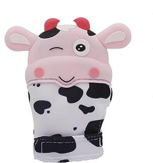 Danea deco Infant Teething Mitten,Silicone Teething Glove,Stimulating Teether Mitt Toy Pink Lovely Cow Baby Soothing Pink Lovely Cow Baby Soothing