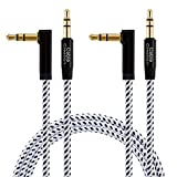 3.5mm Audio Cable [2-Pack 3Feet], CableCreation Stereo Jack 3.5mm Aux Cable 90 Degree Compatible with Headphone, Phone, 2018 Mac Mini, Microsoft Surface Dock, iPhones, Car Stereo & More