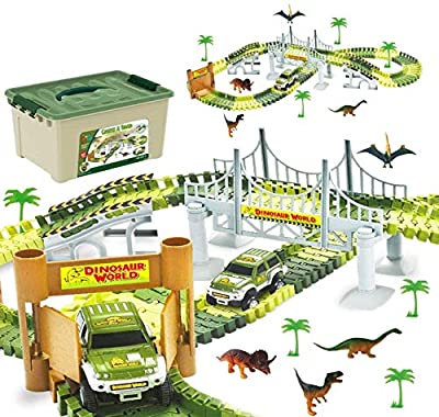 Awesome Dinosaur Track Toy Set with 206 Unique Pieces | Dinosaur Train Track for Kids & Toddlers | Jurassic World Toys Set for Christmas & Birthday Gift | Safe Durable STEM Play Set for Boys & Girls