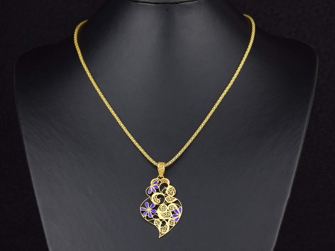 Portuguese Filigree PENDANT Larger Heart Necklace Popular overseas with Ster 925 Max 65% OFF