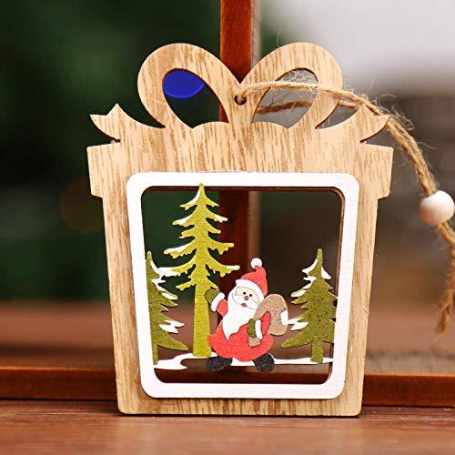 YJLT Ornamenten Beeldjes Beeldjes Decoraties 2 Stks Kerst Decoraties Vijfpuntige Ster Kerstboom Ornamenten Accessoires Houten Klokken Ornamenten Jurk Op@F19.8 * 8.5 * 0.5Cm