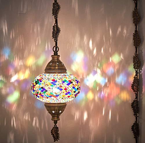 DEMMEX 2019 - Lámpara de techo colgante con mosaico turco marroquí (20 colores)