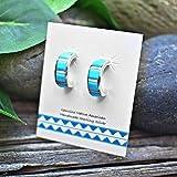 Genuine Sleeping Beauty Turquoise Half Hoop Earrings in 925 Sterling Silver, Native American Handmade, Nickle Free
