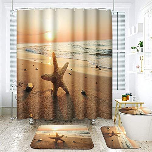 ArtSocket 4 Pcs Shower Curtain Set Starfish Beach Sunset Travel Sand Blue Ocean with Non-Slip Rugs Toilet Lid Cover and Bath Mat Bathroom Decor Set 72' x 72'