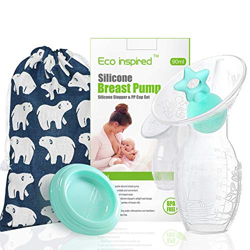 Manual Breast Pump with Green Star Shape Silicone Stopper and Green PP lid for Breastfeeding 1 Pack, 3oz/90ml