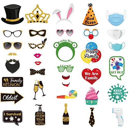 Amosfun Accesorios para fotos de Lucky Tema, accesorios para fotografía, supervivencia, selfie, agradecimiento para la fiesta, 36 unidades