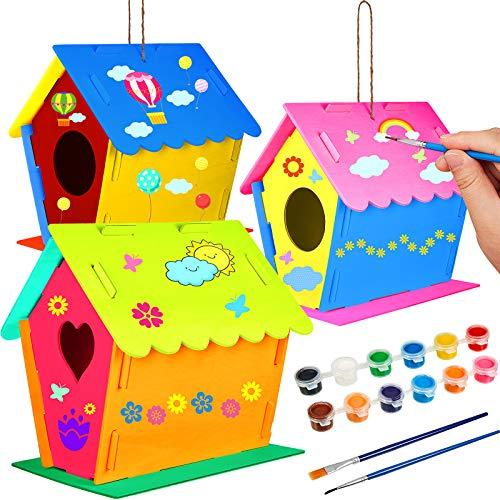 3 Piezas Kits de Casa de Madera de Pájaros Construir y Pintar Casa de Pájaros Casas de Pájaros Colgantes con 12 Piezas Pinturas y 2 Piezas Pinceles para Bricolaje Artesanal Educativo