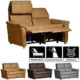 Cavadore 2-Sitzer Sofa Chalsay inkl. verstellbarem Kopfteil und Relaxfunktion