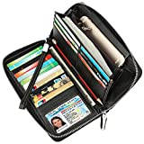 Lavemi Women's RFID Blocking Leather Zip Around Wallet Large Phone Holder Clutch Travel Purse Wristlet(Large Size Pebble Black)