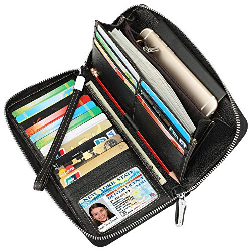 Fire Bowling Ball Womens Genuine Leather Wallet Zip Around Wallet Clutch Wallet Coin Purse