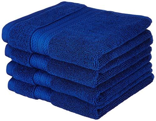 Amazon Brand - Solimo 100% Cotton 4 Piece Hand Towel Set, 575 GSM (Navy Blue)