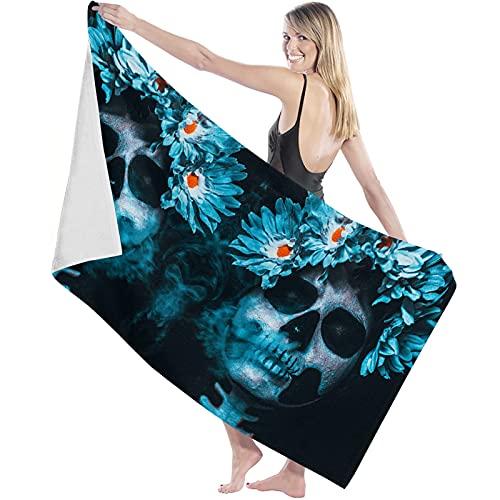 Toalla de Microfibra Secado rápido, Ligera, Absorbente, Suave y grante Yoga, Fitness, Playa, Gimnasio Festival Mexicano Cool Skull con guirnaldas de Margaritas 130X80cm