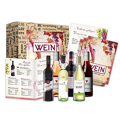 Geschenk Wein Weltreise (6 x 0,25l) als Probierset für Weintrinker I Erstklassige Rotweine & Weißweine zum probieren zum verschenken zum Geburtstag I Weinbox