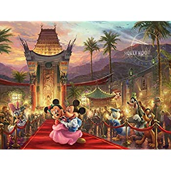 Ceaco Thomas Kinkade The Disney Collection Mickey and Minnie Hollywood Jigsaw Puzzle, 750 Pieces