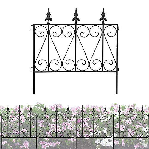 Decorative Garden Fence Rustproof Coated Metal 24in x 10ft Picket Border Section Edging Fence Panel Folding Garden Fencing for Landscaping Pet Animal Barrier Patio Flower Bed Outdoor 5 Packs