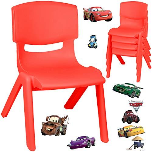 alles-meine.de GmbH Kinderstuhl / Stuhl - Motivwahl - rot + Sticker - Disney Cars - Auto - Lightning McQueen - Plastik - bis 100 kg belastbar / kippsicher - für INNEN & AUßEN - 0..