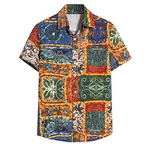Yowablo Herren Kurzarm Shirt Einfarbig Freizeithemd Casual Hemden Leichte Atmungsaktives Bequem Leinen Sommerhemden Loose Fit (XXL,12Gelb)