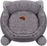 Almohada para Perros Bedsure, colchón de Espuma con Forma de Huevo para Perros pequeños y medianos, Cama ortopédica para Perros, Lugar Acogedor para dormir-48cm de diámetro en L_Gris