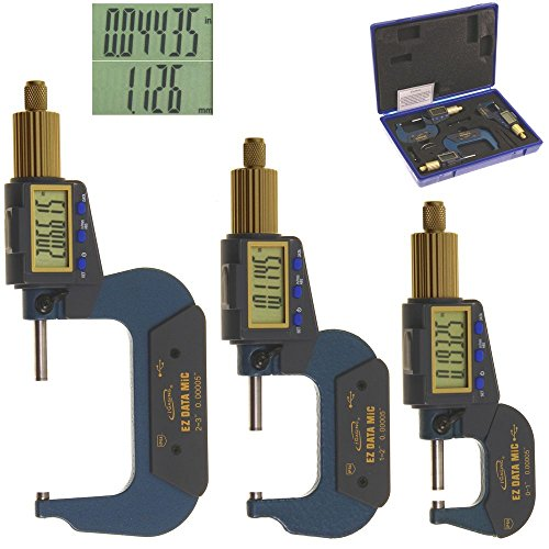 iGaging Digital Micrometer Set of 3 0-3'/0.00005' Electronic Extra Large LCD Display Inch/Metric Conversion Data Connect Available (0-3')