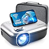 MOOKA WiFi Projector, 1080P Full HD Supported 200' Video Projector, 7500L Mini Projector, Movie Home Theater for TV Stick, Video Games, HDMI/USB/AUX/AV/PS4, iOS Android Smartphone Screen, Carrying Bag