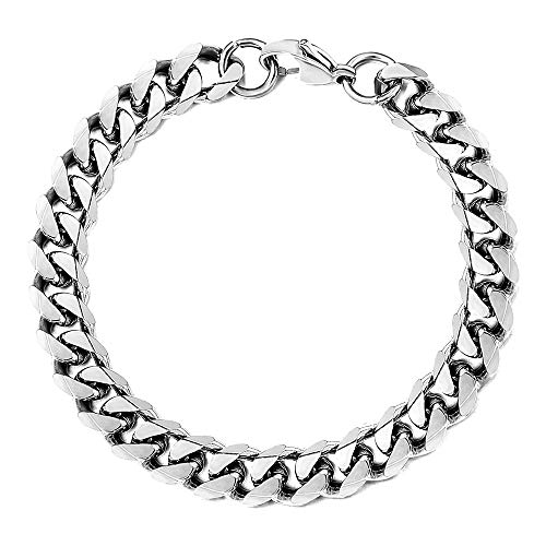 Trendsmax 9mm Mens Women Chain Silver Tone Stainless Steel Curb Cuban Link Chain Bracelet 8inch
