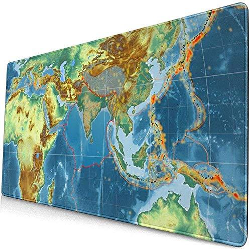 Placa tectónica India delineada en el Mapa de Relieve topográfico Global Alfombrilla de ratón Alfombrilla de ratón Alfombrilla de ratón Goma Antideslizante Durable