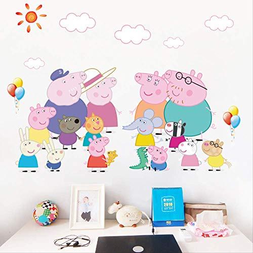 Pecs Pegatina De Pared De Dibujos Animados Habitación Infantil Jardín De Infantes Educación Temprana Fondo De Pared Decoración Mural George Pig Madre