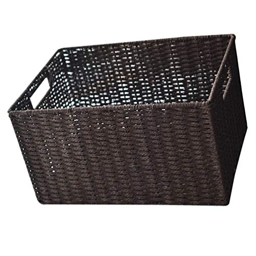 UPKOCH Natural Hyacinth Storage Baskets Woven Seagrass Storage Organizer Basket Bin with Handles Sundries Container Closet Basket Bins for Bathroom Office