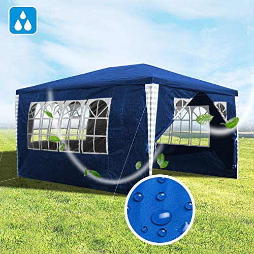Hengda 3x4 m Party Tent Gazebo Marquee with Side Panels UV Protection, Powder Coated Steel Frame for Outdoor Wedding Garden Party, Blue