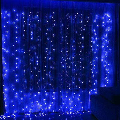 3X1 / 3X2 / 3X3 / 3X6M Luces De Cortina Heladas Led Conectan Luces De Hadas De Navidad Guirnaldas Luces De Jardín De Fiesta De Bodas Azul 3X1M 100Leds