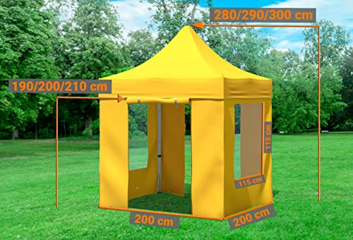 51aRqwoQWSL - Stabilezelte Faltpavillon 2x2 Meter Professional mit Fensterseiten gelb