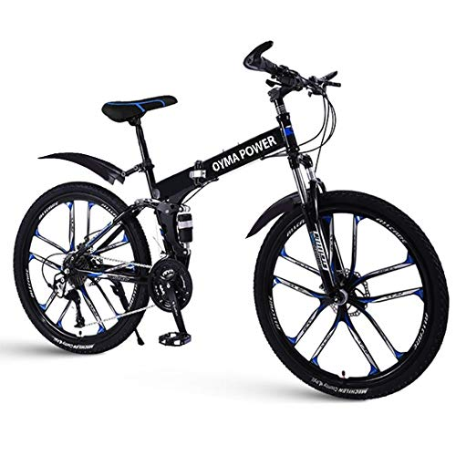 GHGH Outroad Folding Mountain Bike 26-inch Wheel 21 Speed 5 Spoke Double Disc Brake Bicycle Suspension Fork Rear Anti-Slip Road Bike for Adult or Teens New