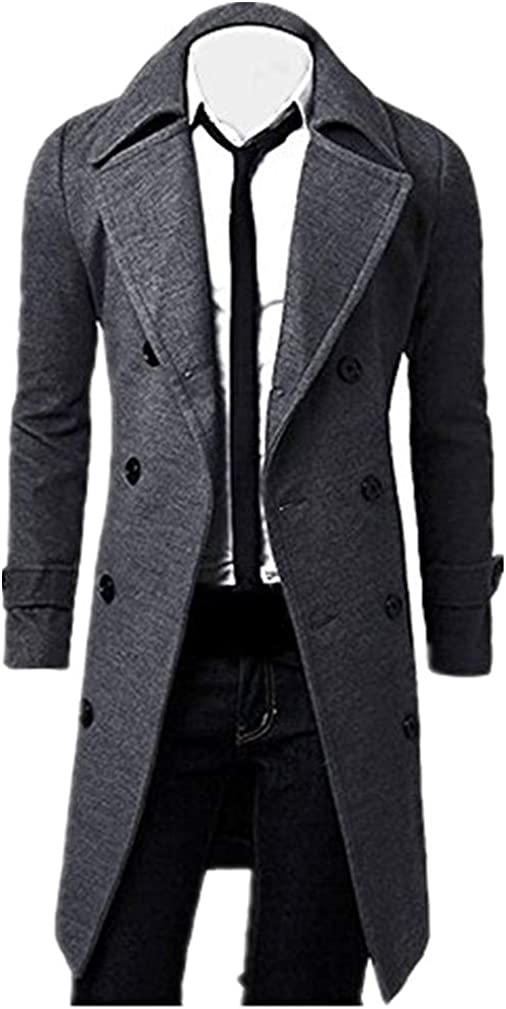 Sumen Winter Mens Trench Coat Stylish Slim Fit Double Breasted Long Jacket