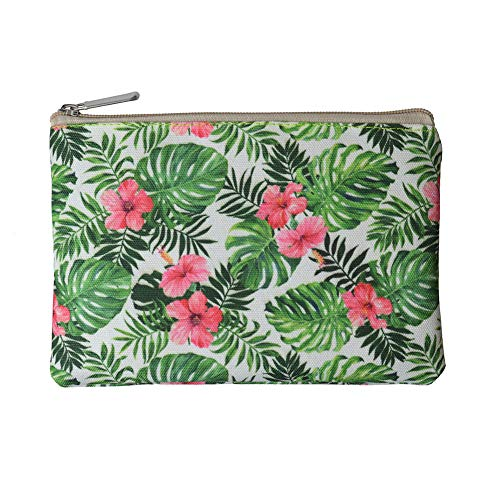 Rantanto Canvas Pencil Holder Case Pen Stationary Pouch Cosmetic Makeup Bag (CPH001 Tropical Leaves)