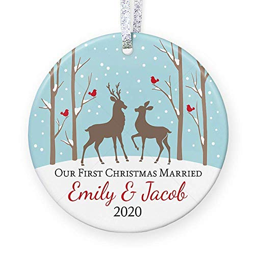Our First Christmas Married 2020, Ornament Wedding Gift for Mr and Mrs, Personalized Bridal Shower Gift - 3' Flat Circle Ceramic Ornament - Gold & Silver Ribbon | PGM-OR-19a