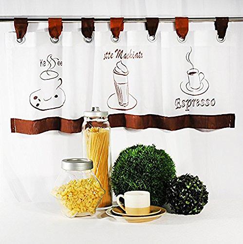 Kamaca Zauberhafte Bistrogardine Coffee Time weißes Voile 40 x 120 Scheibengardine Küche