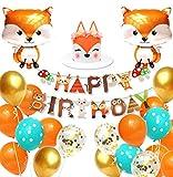 Regendeko Globos con diseño de zorro y animales para cumpleaños infantiles, decoración para fiestas de cumpleaños infantiles (zorro)