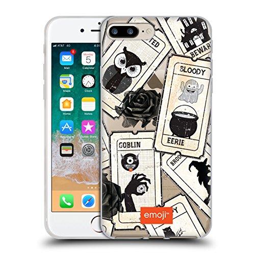 Head Case Designs Oficial Emoji® Rosa Negra Patrones de Halloween Carcasa de Gel de Silicona Compatible con Apple iPhone 7 Plus/iPhone 8 Plus