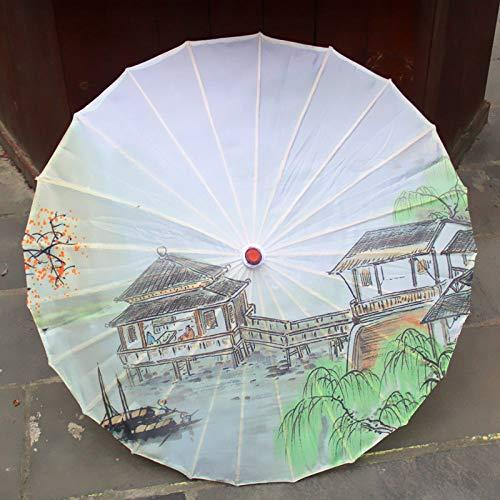 LILONGXI Regenschirm,Kleine Leichte Tragbare Mini Lange Griff Mode Chinesischen Stil Öl Papier Druckerei Dekorative Frauen Alten Tanz Regenschirm Geschenke