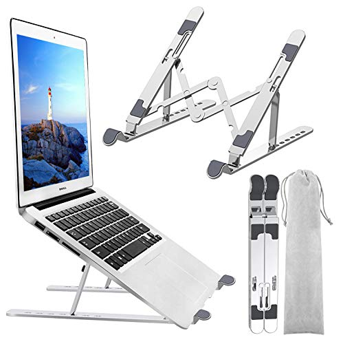 Kemladio Silver Laptop Stand Laptop Holder Riser Computer Stand Adjustable Aluminum Ergonomic Foldable Portable Notebook Stand Compatible with Macbook Air Pro IpadMore 10-15.6' Laptops and Tablets