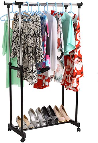 Nesaila Double Rod Garment Rack Portable Height Adjustable Bedroom Clothing Hanging Rack with Shoes Organize