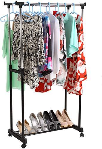 Nesaila - Perchero de doble caña para colgar ropa de dormitorio con ruedas, soporte para colgar ropa para el hogar