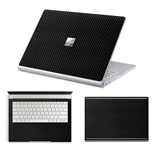 """MasiBloom 3 in 1 Body Protective Sticker Decal Full Ultra Thin Laptop Cover Skin for 13.5"""" 13 inch Microsoft Surface Book 2015 (for 13.5' Surface Book (2015 Released), Decal- Carbon Fiber Black)"""