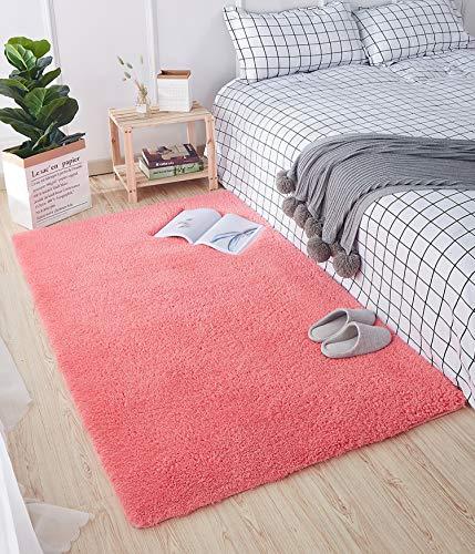 HETOOSHI Tappeto Shaggy - Tappeto Salotto A Pelo Lungo per Asilo Nido Home Room Decor - in Diversi Colori E Misure(Rosso 80 x 160 cm)
