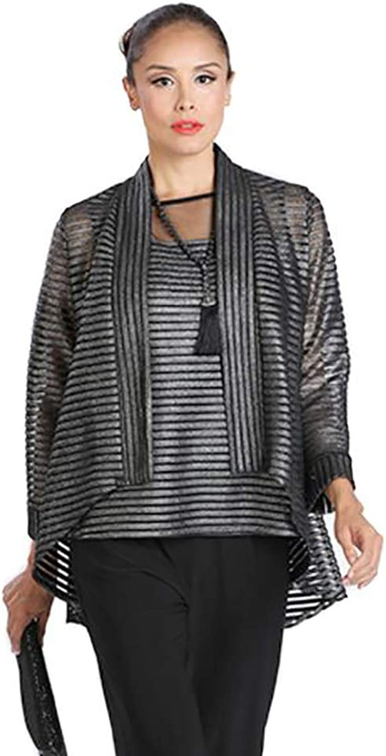 IC Collection Sheer Foil Stripe Jacket & Top in Silver  1214JT