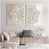 QIAOB Mural de Lienzo, Mandala Floral Beige Colores neutros Boho Arte de la Pared Impresión de...