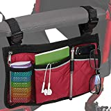 Wheelchair Side Organizer Storage Bags Armrest Pouch Bag for Rollators, Walkers, Powered Manual or Electric Wheelchairs, Fit Most Scooters (Red)
