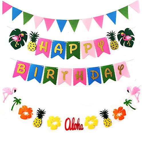 Hawaiian Party Decoration - Luau Party Supplies - Flamingo Happy Birthday Banner - Tropical Pineapple Aloha Garland and Pennant for Summer Beach Pool Garden Tiki Theme Party Décor