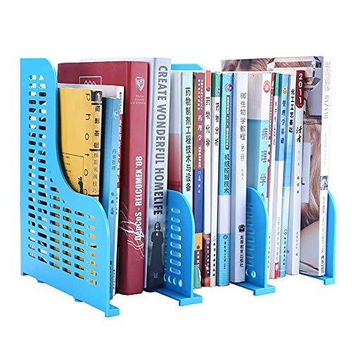 VANRA 引き込み式の本棚 ブックエンド オフィス 卓上収納ラック 伸縮自在 書架 本たて ファイルホルダー 倒れない 仕切りスタンド 3段 (ブルー)