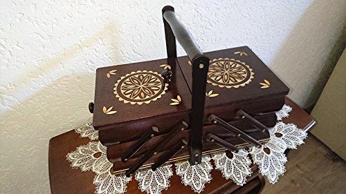 COV XXL Nähkästchen Nähkasten Dekor geschnitzt dunkel nuss 44 x 22,5 x 32 Holz
